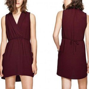 Aritzia Wilfred Sabine Sleeveless Dress Burgundy